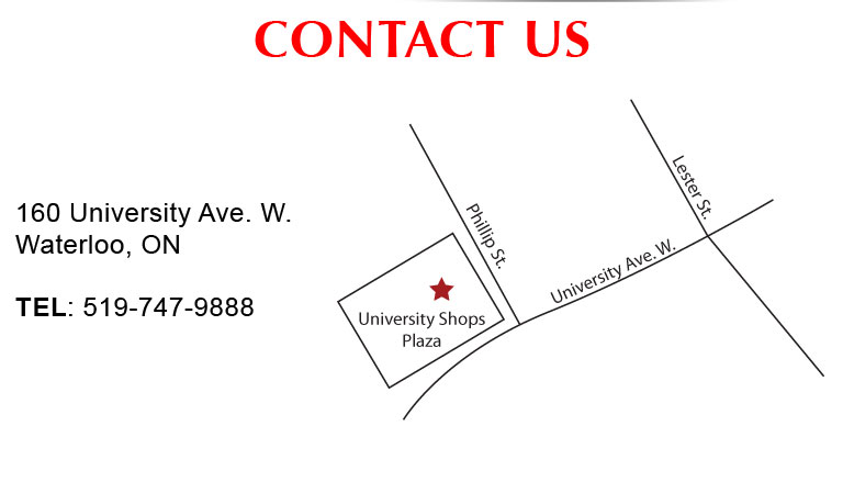 Contact Us! 160 University Ave W., Waterloo, ON (University Shop Plaza)